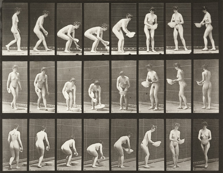 Nude woman stooping, lifting a basin, wiping it and turning (Animal Locomotion, 1887, plate 223)