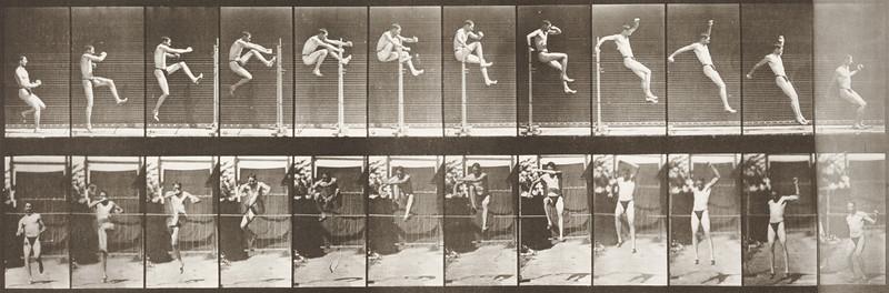 Man in pelvis cloth hurdling horizontal pole (Animal Locomotion, 1887, plate 152)