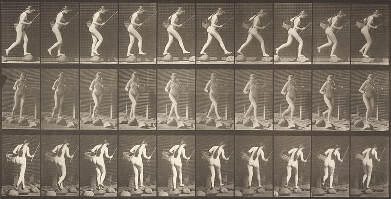Nude woman crossing brook on stepping-stones (Animal Locomotion, 1887, plate 177)
