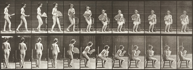 Nude woman sitting down on a chair and opening a fan (Animal Locomotion, 1887, plate 237)