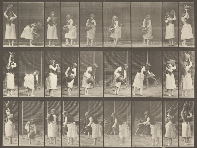 Draped woman making miscellaneous movements with a water jar (Animal Locomotion, 1887, plate 516)