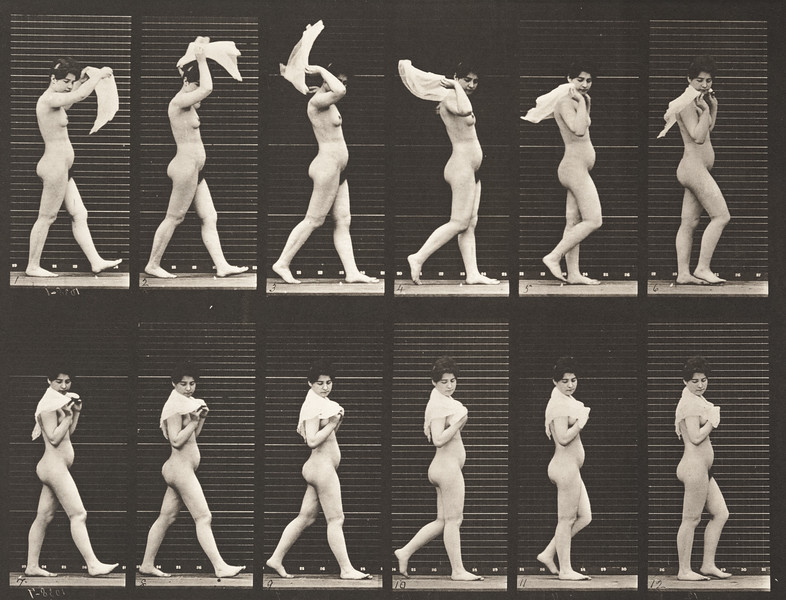 Nude woman walking and throwing handkerchief over shoulders (Animal Locomotion, 1887, plate 40)