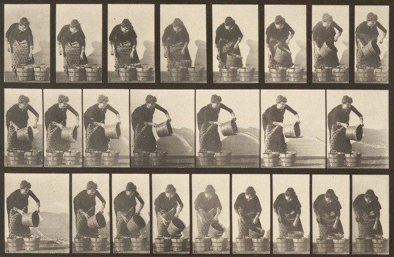 Draped woman emptying a bucket of water (Animal Locomotion, 1887, plate 403)
