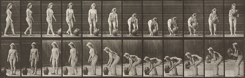 Nude woman turning and lifting a water jar from the ground (Animal Locomotion, 1887, plate 228)