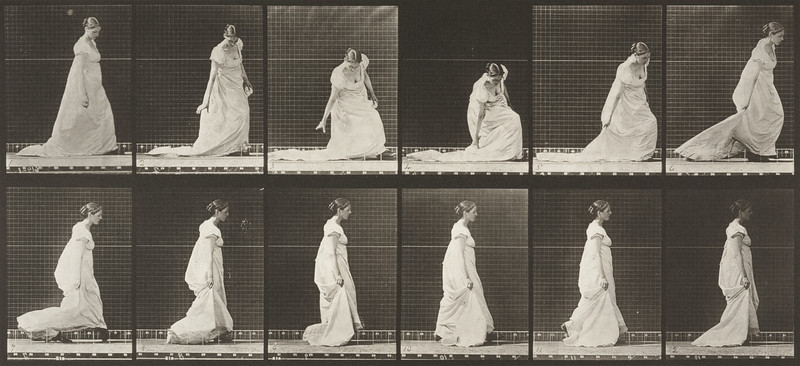 Woman in long dress stooping and lifting train (Animal Locomotion, 1887, plate 207)