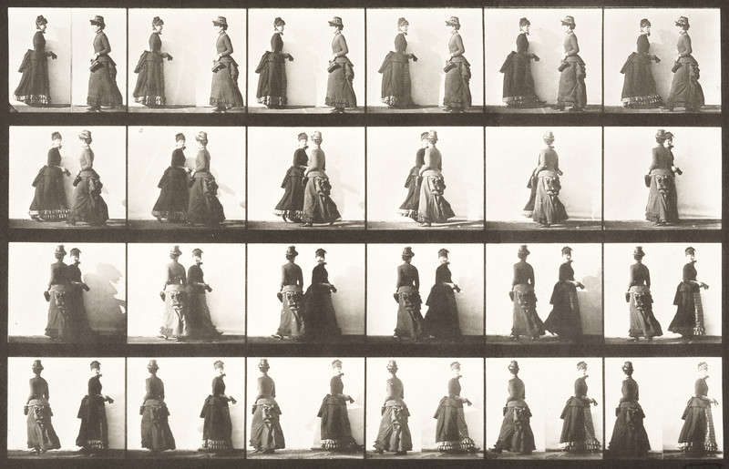 Two women walking, meeting and partly turning (Animal Locomotion, 1887, plate 45)