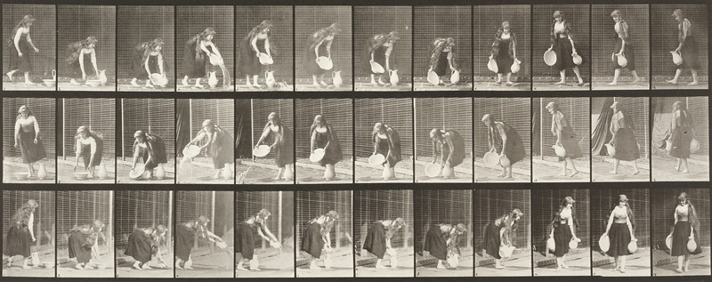 Woman in long dress lifting and emptying a basin of water and turning (Animal Locomotion, 1887, plate 234)