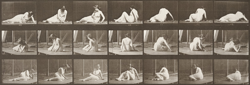 Semi-nude woman turning and changing position while on ground (Animal Locomotion, 1887, plate 267)