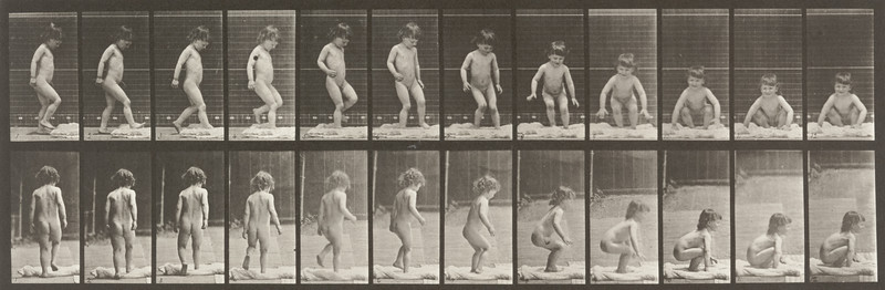 Nude child sitting down (Animal Locomotion, 1887, plate 476)