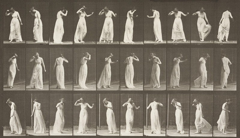 Semi-nude woman with skirt dancing (Animal Locomotion, 1887, plate 194)