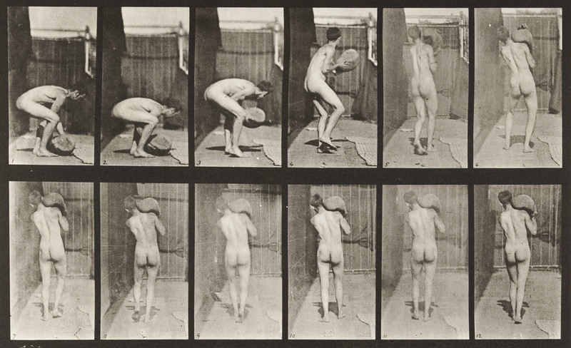 Nude man lifting a 75-lb. stone on shoulder (Animal Locomotion, 1887, plate 397)