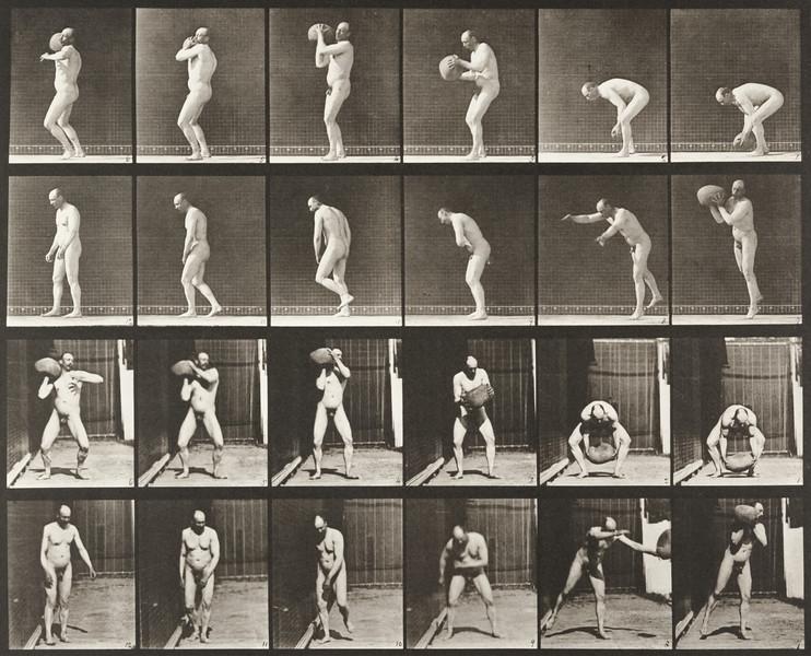 Nude man heaving a 75-lb. rock (Animal Locomotion, 1887, plate 312)