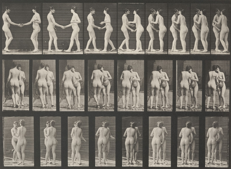 Two nude women shaking hands and kissing each other (Animal Locomotion, 1887, plate 444)