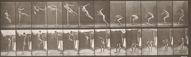 Man in pelvis cloth running and jumping horizontal bar (Animal Locomotion, 1887, plate 158)