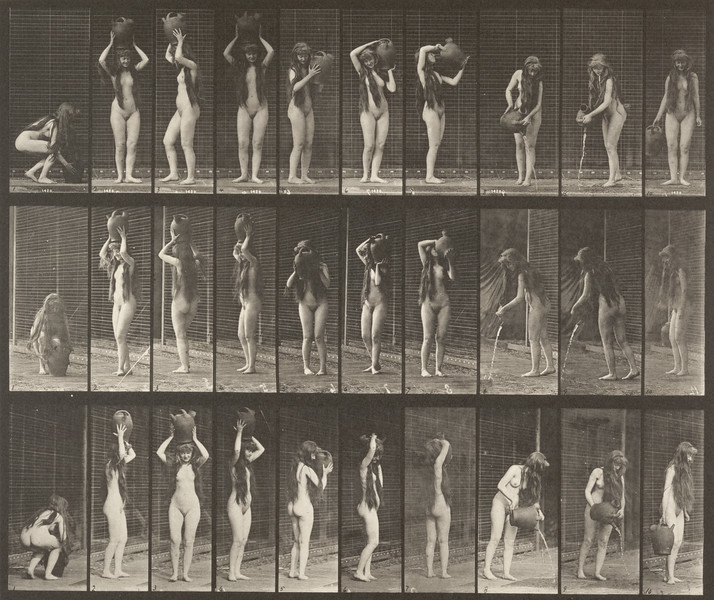 Nude woman moving with water jar (Animal Locomotion, 1887, plate 500)