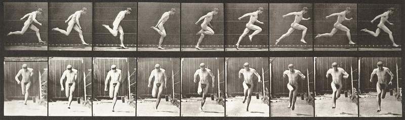 Nude man running (Animal Locomotion, 1887, plate 68)