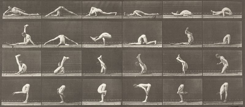 Man in pelvis cloth performing contortions (Animal Locomotion, 1887, plate 510)