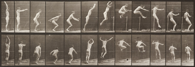 Man in pelvis cloth standing and jumping (Animal Locomotion, 1887, plate 161)