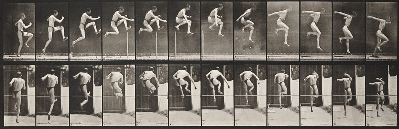Man in pelvis cloth jumping horizontal bar (Animal Locomotion, 1887, plate 153)