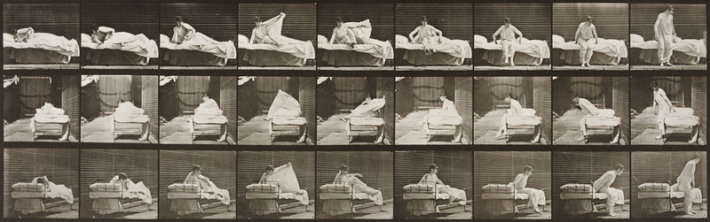 Semi-nude woman getting out of bed (Animal Locomotion, 1887, plate 265)