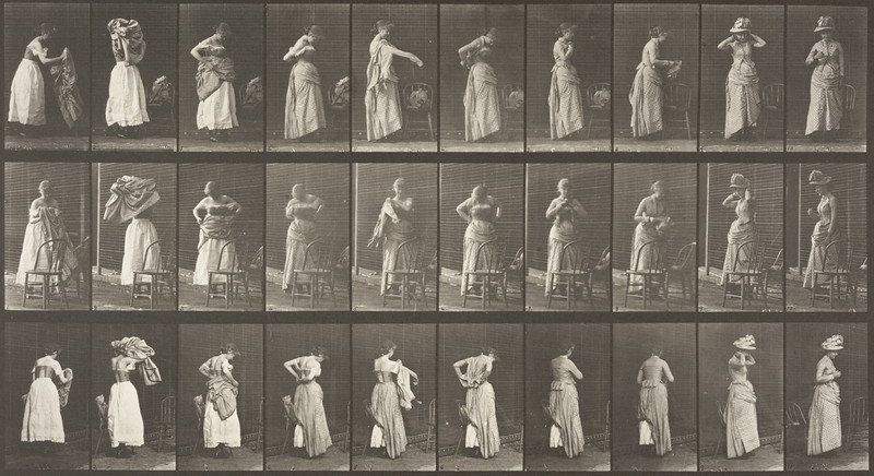 Woman dressing (Animal Locomotion, 1887, plate 495)