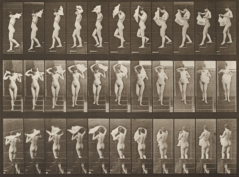 Nude woman descending stairs (Animal Locomotion, 1887, plate 133)