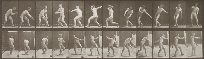 Nude man catching and throwing baseball (Animal Locomotion, 1887, plate 284)