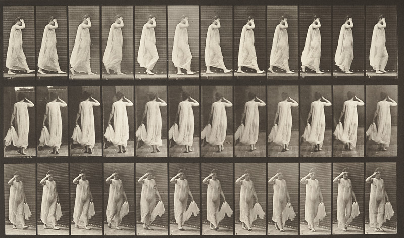 Female semi-nude walking with hand holding dress and hand at face. (Animal Locomotion, 1887, plate 37)