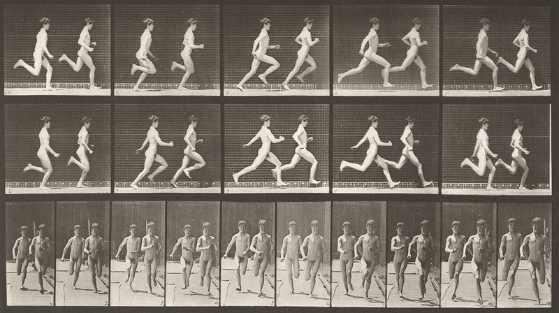 Two nude boys running (Animal Locomotion, 1887, plate 69)
