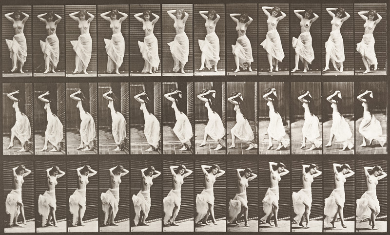 Nude woman with skirt dancing (Animal Locomotion, 1887, plate 190)