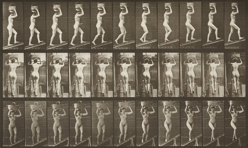 Nude woman ascending an incline with a 20-lb. basket on head (Animal Locomotion, 1887, plate 80)