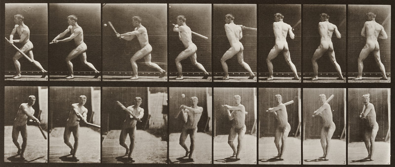 Nude man with baseball bat (Animal Locomotion, 1887, plate 278)
