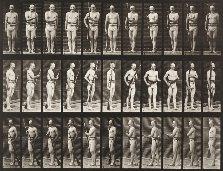 Man in pelvis cloth positioning bayonet (Animal Locomotion, 1887, plate 351)