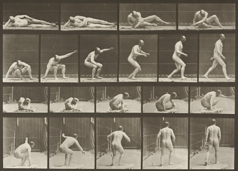 Nude man arising from the ground and walking off (Animal Locomotion, 1887, plate 258)