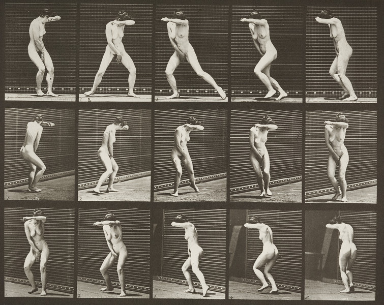 Nude woman turning around in surprise and running away (Animal Locomotion, 1887, plate 73)
