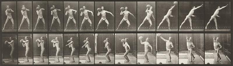 Man in pelvis cloth throwing rock (Animal Locomotion, 1887, plate 319)