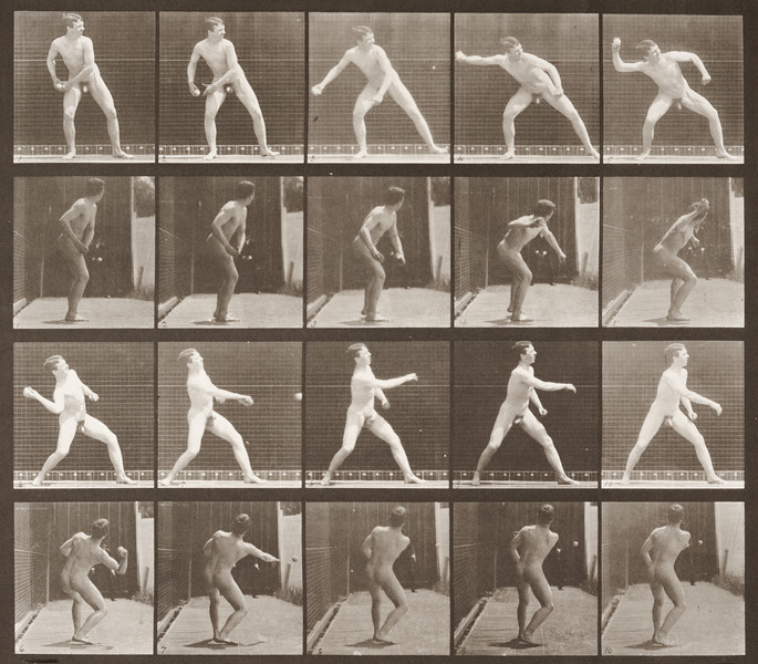 Nude man playing baseball, pitching (Animal Locomotion, 1887, plate 273)