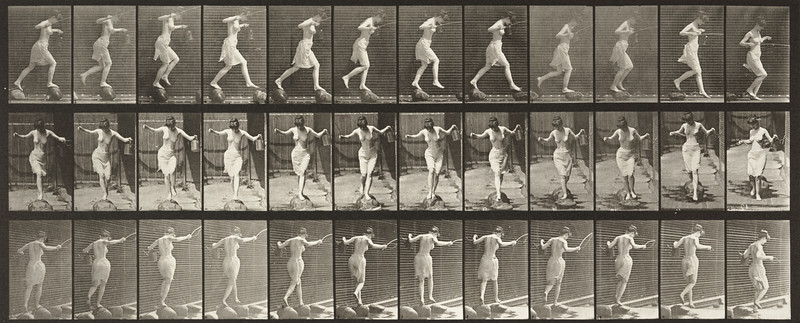 Semi-nude woman crossing brook on stepping-stones with a fishing pole and cank (Animal Locomotion, 1887, plate 175)