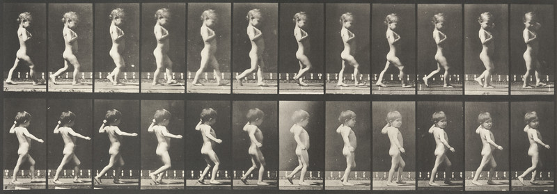 Boy with bowlegs and girl with spinal caries walking (Animal Locomotion, 1887, plate 540)
