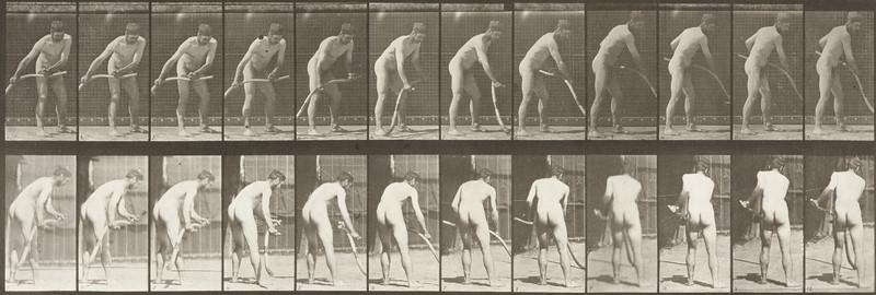 Nude farmer mowing grass (Animal Locomotion, 1887, plate 390)