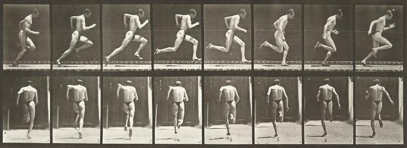 Man in pelvis cloth running at full speed (Animal Locomotion, 1887, plate 61)