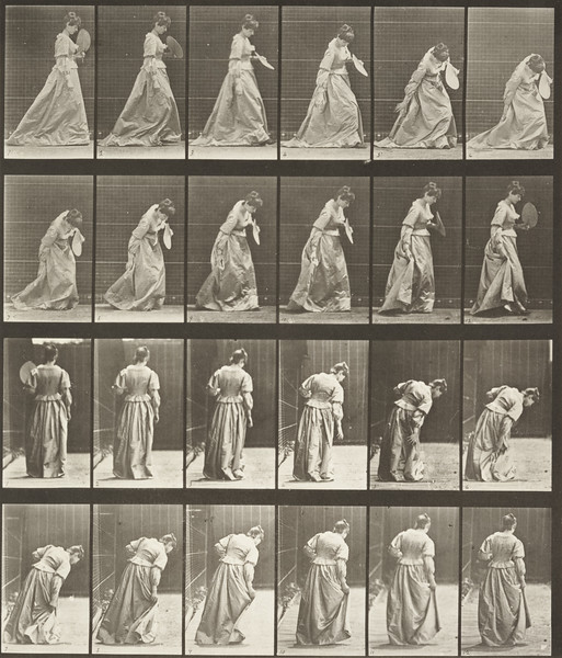 Woman in long dress stooping and lifting dress with a fan in left hand (Animal Locomotion, 1887, plate 210)
