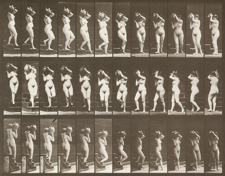 Nude woman descending stairs (Animal Locomotion, 1887, plate 147)