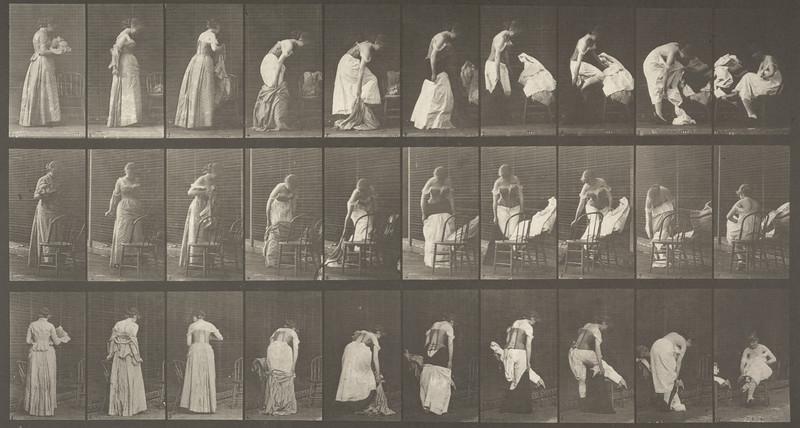 Woman undressing (Animal Locomotion, 1887, plate 497)