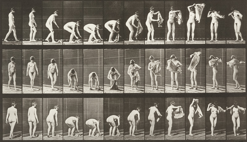 Nude woman lifting a cloth from the ground, placing around shoulder and turning (Animal Locomotion, 1887, plate 227)