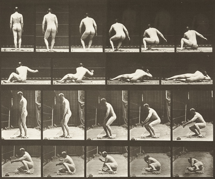 Nude man lying on the ground (Animal Locomotion, 1887, plate 257)