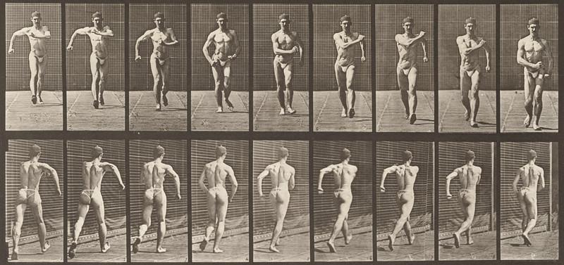 Man in pelvis cloth walking (Animal Locomotion, 1887, plate 3)