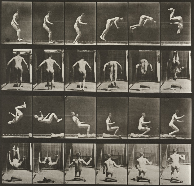Nude man performing a running somersault (Animal Locomotion, 1887, plate 363)