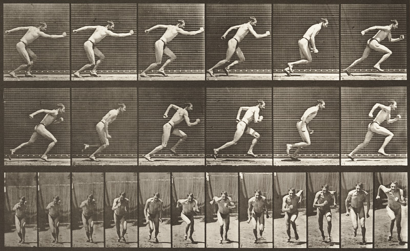 Man in pelvis cloth is starting for a run (Animal Locomotion, 1887, plate 59)
