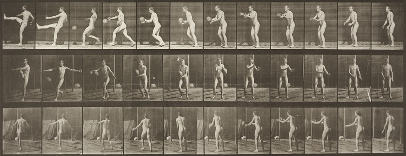 Nude man playing football, punt (Animal Locomotion, 1887, plate 301)